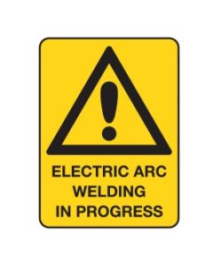 Warning Sign Electric Arc Welding In Progress