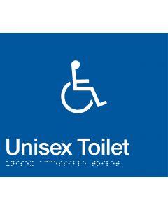 Disabled Unisex Toilet Braille Sign Blue