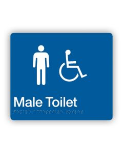 Male Disabled Toilet Braille Sign Blue/White