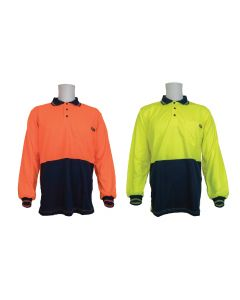 Hi-vis Long Sleeve Polo Shirt - Micromesh