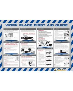 Sign Poster - Work Place First Aid Guide 600 x 320mm