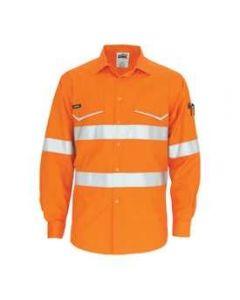 Long Sleeve Hi Vis RipStop Day / Night Work Shirt, Orange