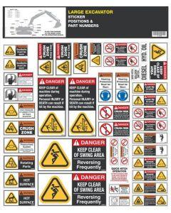 Large Excavator Safety Sticker Set