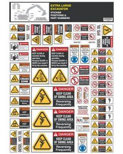 Extra Large Excavator Safety Sticker Set