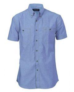 S/S Chambray Shirt Blue Brown Stitch