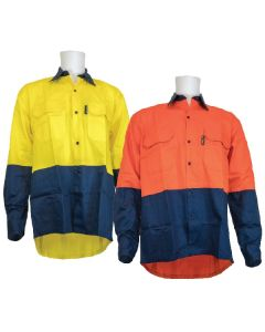 Two Tone Long Sleeve Cotton Drill Shirt 155gsm