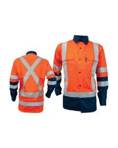 Long Sleeve Drill Shirt - Coolsafe Reflective Tape, Orange/Navy