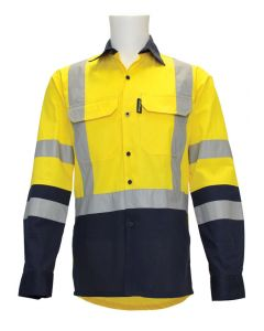 Long Sleeve Drill Shirt - Coolsafe Reflective Tape, Yellow/Navy