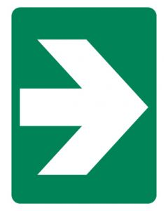 First Aid Emergency Sign - Arrow 300 x 450mm Poly