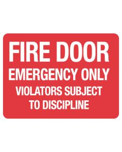 Fire Sign - Fire Door Emergency Only 225 x 300mm Poly