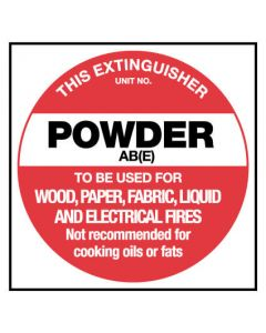 This Extinguisher Powder ABE Fire Safety Sign Placard 150 x 150mm