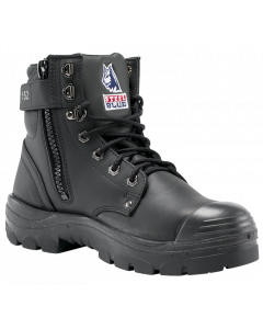 Steel Blue Argyle Zip Sided Boot With Bump Cup - Black