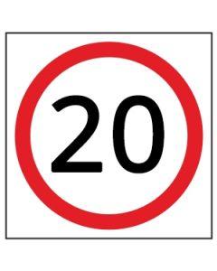20 KM Speed Sign WA