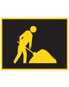 Night Worker Symbol Boxed Edge Sign 1200mm x 900mm