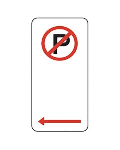 No Parking Sign With Left Arrow 225 x 450mm