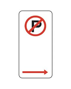 No Parking Sign With Right Arrow 225 x 450mm