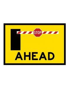Portaboom Ahead Boxed Edge Road Sign, 900 x 600mm