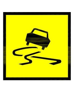 Slippery Surface Road Sign Symbol Class 1 / Coreflute 600 x 600mm