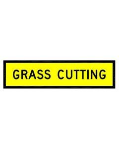 Grass Cutting Road Sign Class 1 / Coreflute 1200 x 300mm