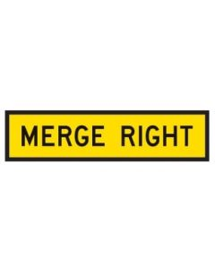 Merge Right Sign 1200 mm x 300 mm Corflute