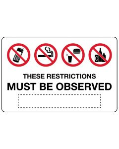 These Restrictions Must Be 900mm x 600mm Poly