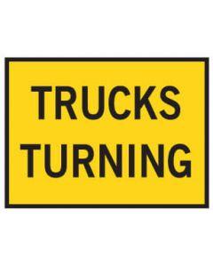 Boxed Edge Road Sign - TRUCKS TURNING