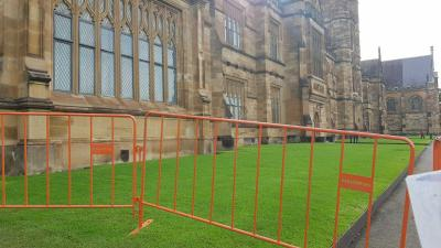 Temporary crowd control barriers at Sydney University